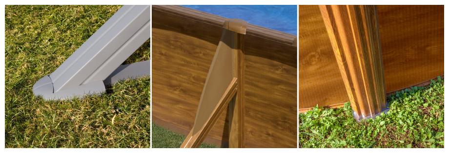 Piscine hors-sol Gré décoration bois Pacific - renforts & piliers