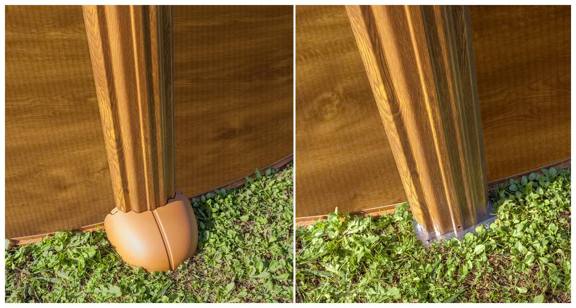 structure de la piscine hors sol acier aspect bois en situation