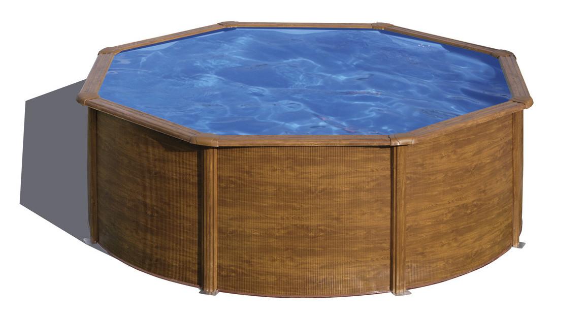 piscine hors sol ronde pacific gré imitation bois