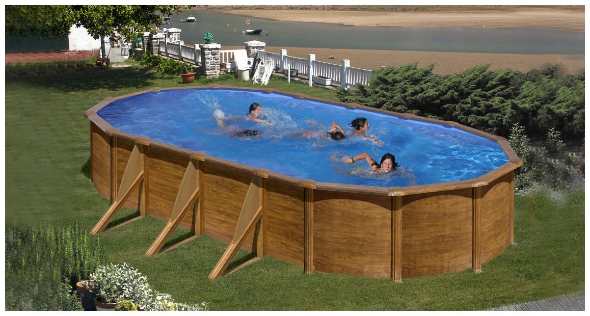 piscine hors sol en acier aspect bois en situation