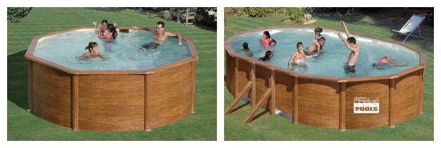 Finition style bois et montage facile  kit piscine acier  ~ Piscine Hors Sol Acier Imitation Bois