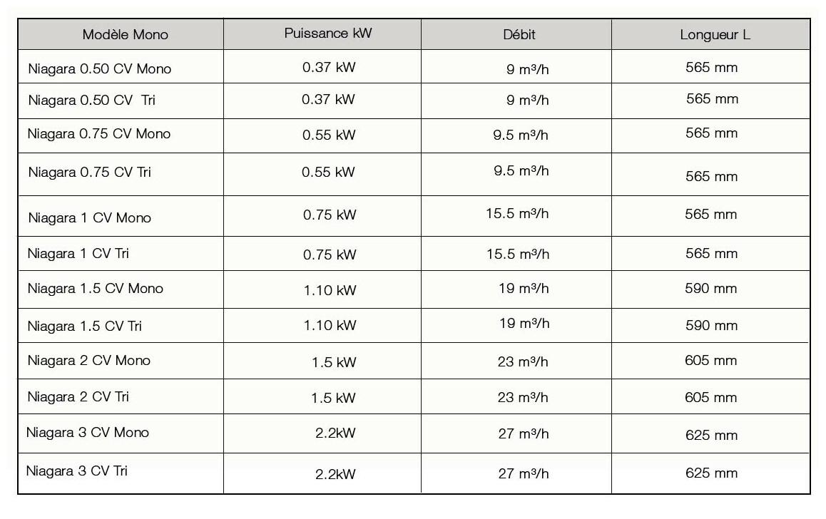 caractéristiques de la pompe de filtration de piscine Astral Niagara