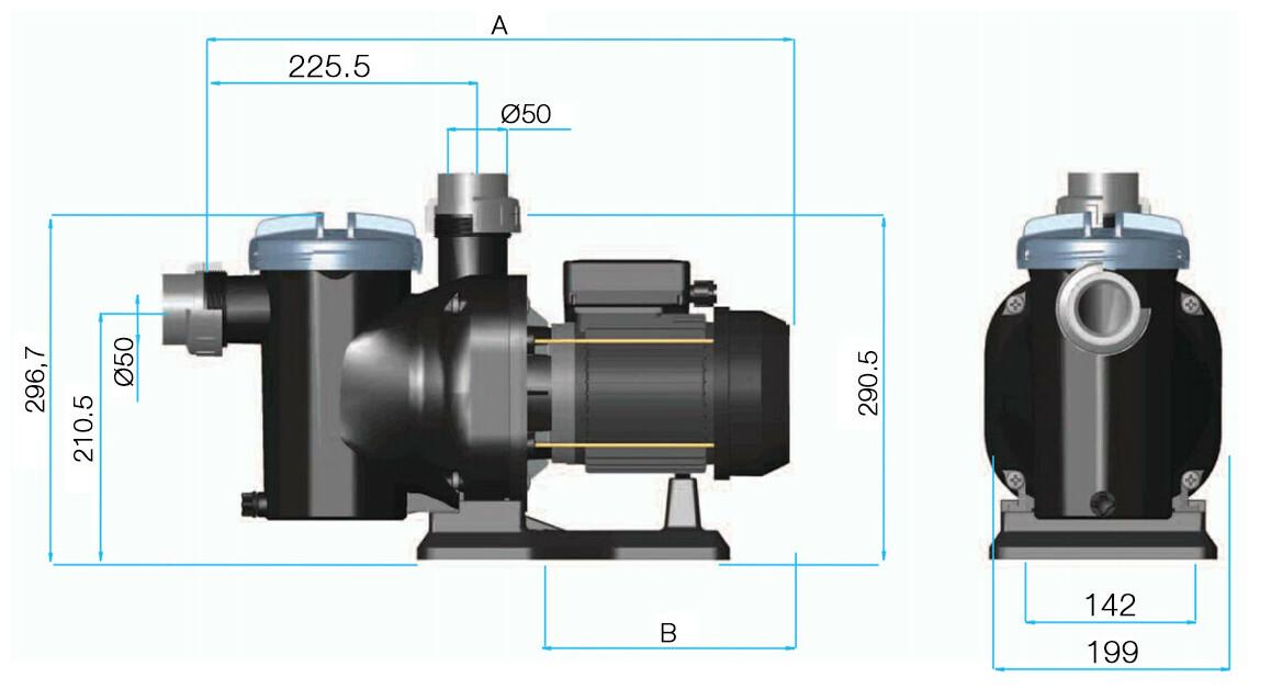 dimensions de la pompe de filtration astralpool sena