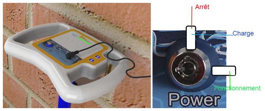 Chargement de la batterie de l'enrouleur F1 pour bâches à barres de piscine en situation