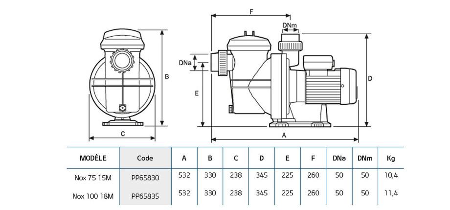 dimensions de la pompe de filtration nox 75 15 - 10018 m