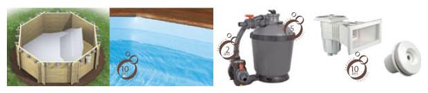 piscine bois weva octogonale equipement