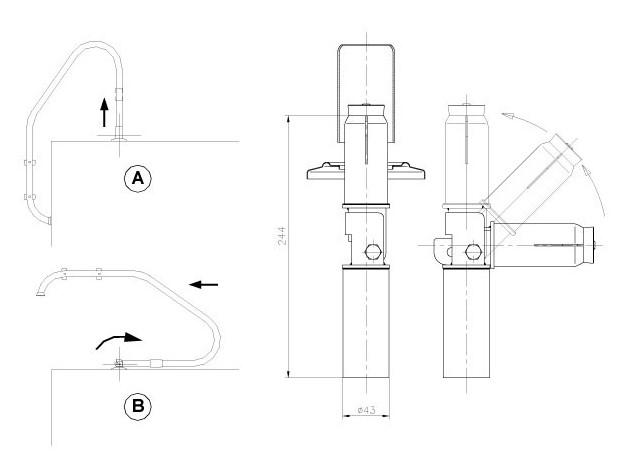 ancrage articulé echelle 43 mm dimensions