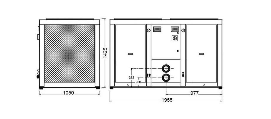 Dimensions de la pompe à chaleur Optipac 30 D by Zodiac en situation