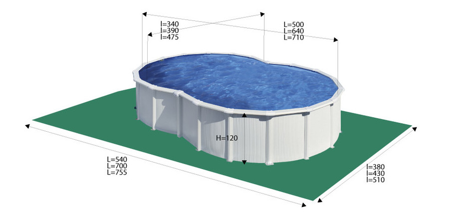 Piscine hors-sol en acier forme en huit Varadero - dimensions