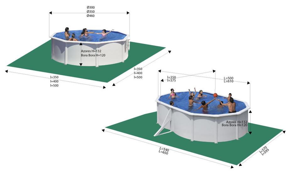 piscine hors sol gr acier blanc bora bora azores dimensions - Dimension Piscine Hors Sol