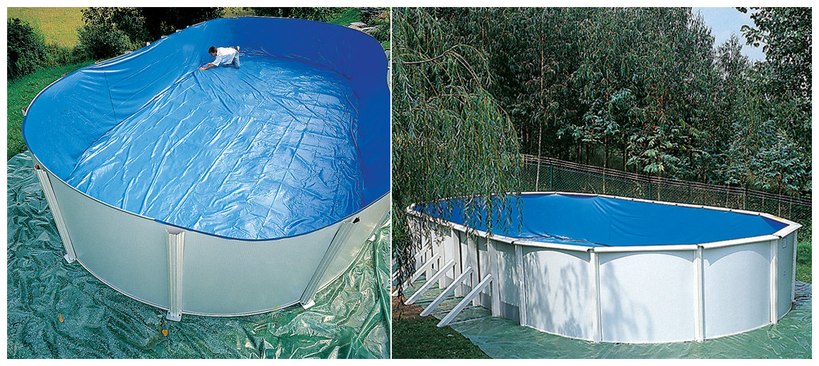 liner de la piscine hors sol en acier blanc fidji par gré