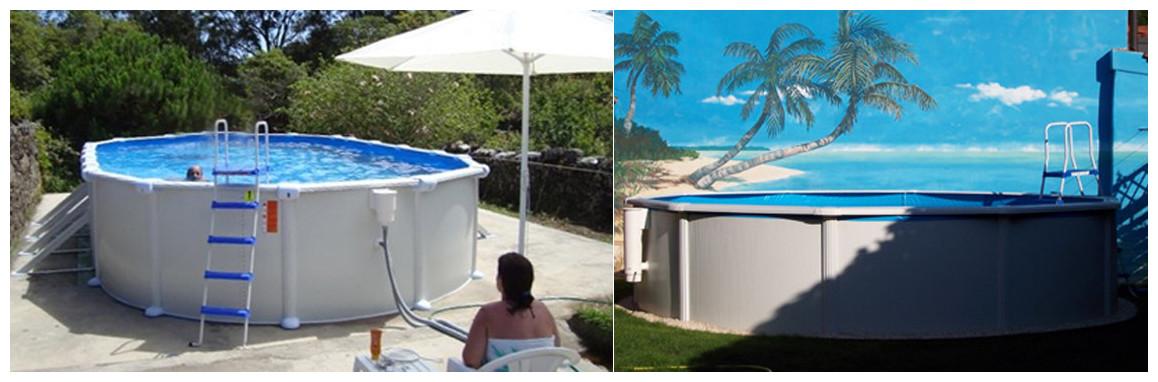détails de la piscine hors sol en acier blanc fidji par gré