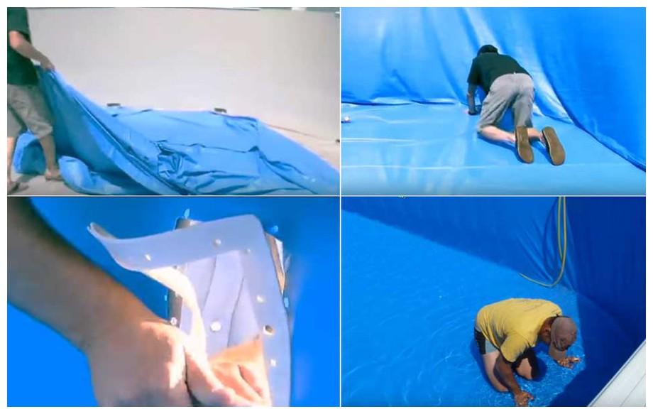 Liner Gré bleu uni système rail d'accroche pour piscine hors sol en situation