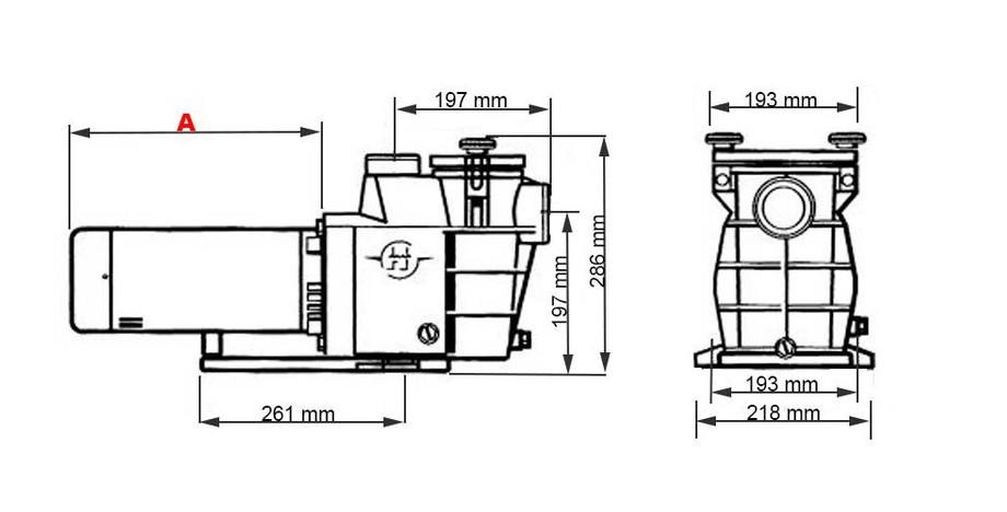 dimensions de la pompe de filtration de piscine Maxflo by Hayward