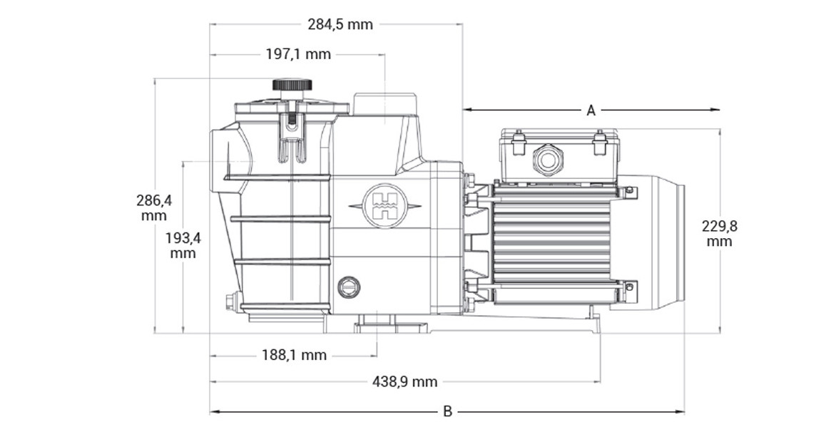 dimensions de la pompe de filteration maxflo hayward