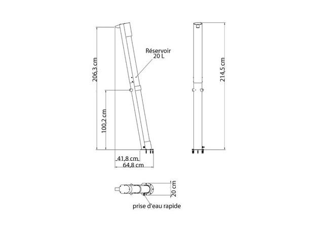 Douche solaire - Réservoir 20L - schema raccordement