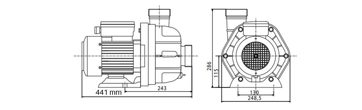 dimensions pompe MGD pour nage à contre courant Jetvag junior