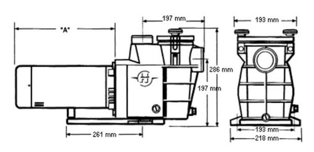 Dimensions pompe piscine Powerline Hayward
