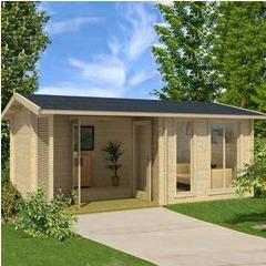 Abri de jardin en bois brut Brighton B - 16,12 m² - 44 mm