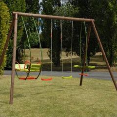 Balan oire et portique safran en bois pour enfants jardin for Balancoire jardin bois