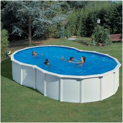Kit piscine hors sol en huit avec renforts en u 640 x 390 x 120 cm