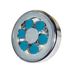 Lampe piscine inox avec 6 Super LED de 1W Bleu