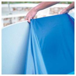 Liner bleu uni overlap piscine hors sol ronde Ø 350 x 90 cm 20/100