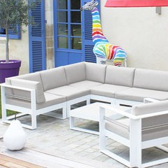 Salon d 39 ext rieur 6 places en thermolaqu blanc jardin for Salon de jardin bas bois