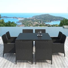 salon repas de jardin en r sine noire 6 fauteuils piscine center net. Black Bedroom Furniture Sets. Home Design Ideas
