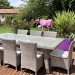 Salon repas de jardin Keywest en résine ronde gris clair