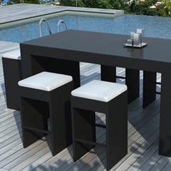 Mange debout de jardin en r sine tress e jardin - Table haute exterieure ...