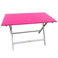 Table rectangulaire en acacia bicolore Burano muscade/fushia