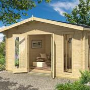 Abri de jardin en bois brut - Elgin - 16,53 m² - 44 mm