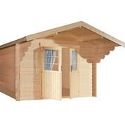 Abri en bois brut - Nicaragua - porte double - 8,47 m² - 44 mm