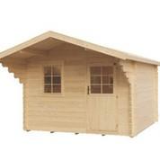 Abri de jardin en bois brut - Victoria - Porte simple - 9,92 m² - 44 mm