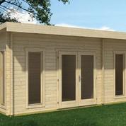 Petit abri en bois de jardin au toit plat double porte for Abri de jardin martinique