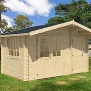 Abri de jardin en bois brut Borkum 5 - 14,60 m² - 40 mm
