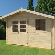Abri de jardin en bois brut Cyprus 5E - 14.8 m² - 28 mm