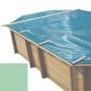 Bache à barres amande pour piscine bois original 436 x 336
