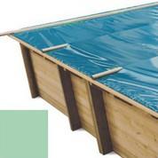 Bache à barres amande pour piscine bois original 600 x 420