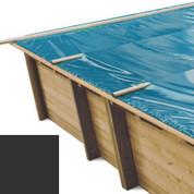 Bâche à barres carbone pour piscine bois original 815 x 420 - 790207