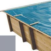 Bache à barres gris pour piscine bois original 600 x 420