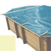 Bache à barres sable pour piscine bois original 436 x 336