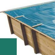 Bache à barres vert pour piscine bois original 600 x 420