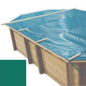 Bache à barres vert pour piscine bois original 872 x 472