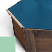 Bache a barres amande pour piscine bois Hexa Original 412 x 412