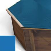 Bache a barres bleu pour piscine bois Hexa Original 412 x 412