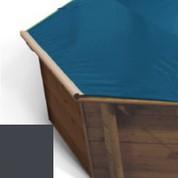Bache a barres carbone pour piscine bois Hexa Original 412 x 412