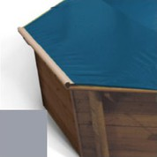 Bache a barres gris pour piscine bois Hexa Original 412 x 412