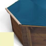 Bache a barres sable pour piscine bois Hexa Original 412 x 412